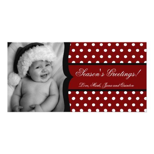 4x8 Red White Polka Dot Frame PHOTO Christmas Card