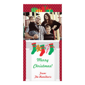 4x8 Stockins / Presents on Fire Place PHOTO Card