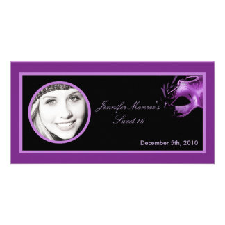 4x8 Sweet 16 Purple Lilac Black Party Announcement Personalized Photo Card