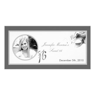 4x8 Sweet 16 Silver White Party Announcement