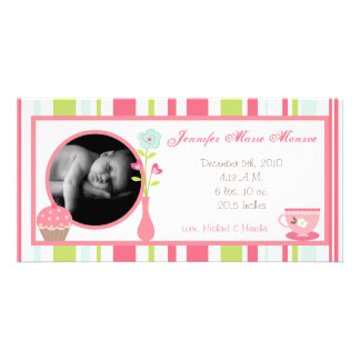 4x8 Tea Party Pink Pastel Photo Birth Announcement