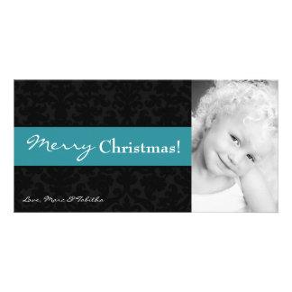 4x8 Teal Black Damask Frame PHOTO Christmas Card