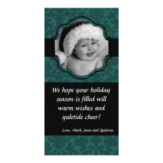 4x8 Teal Damask Ribbon Frame PHOTO Christmas Card