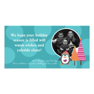 4x8 Teal Penguin Tree Polka PHOTO Christmas Card