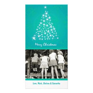 4x8 Teal Snowflake XMAS Tree PHOTO Christmas Card Photo Card