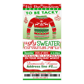 4x8 ticket style Christmas Party Invitation adult