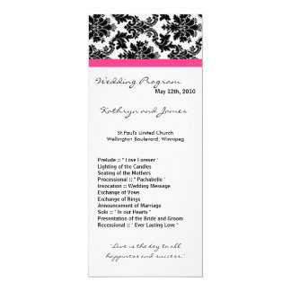 4x9 Wedding Program - Black Damask and Hot Pink