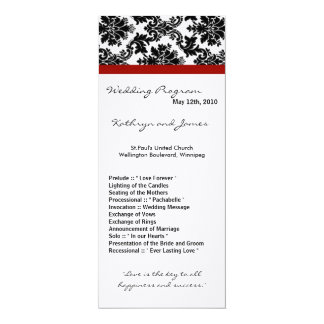 4x9 Wedding Program - Black Damask Red Crimson Custom Announcements