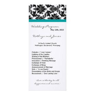 4x9 Wedding Program - Black Damask Teal Turquoise Custom Invitations