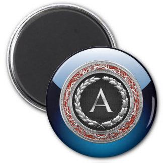 "[500] ""A"" Silver Vintage Monogram Refrigerator Magnets"