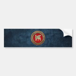 [500] Babylonian Winged Bull Lamassu [3D] Bumper Sticker