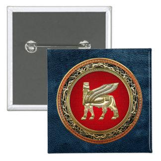 500 Babylonian Winged Bull Lamassu 3D Pinback Button