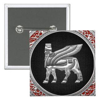 500 Babylonian Winged Bull Silver 3D Pin
