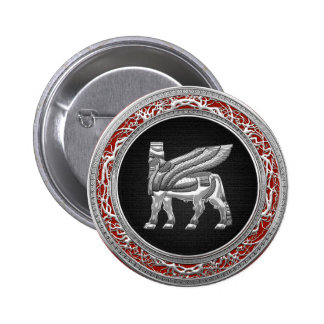 500 Babylonian Winged Bull Silver 3D Pinback Button
