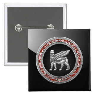 500 Babylonian Winged Bull Silver 3D Buttons