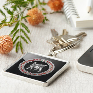 [500] Babylonian Winged Bull [Silver] [3D] Silver-Colored Square Keychain