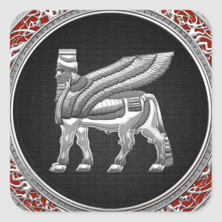 [500] Babylonian Winged Bull [Silver] [3D] Square Sticker