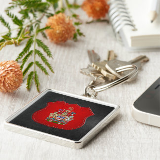 [500] Canada Coat of Arms [3D] Silver-Colored Square Keychain