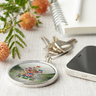 [500] Canada Coat of Arms [3D] Silver-Colored Round Keychain