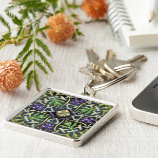 [500] Celtic Cross [Gold with Black Enamel] Silver-Colored Square Keychain