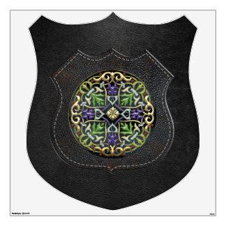 [500] Celtic Cross [Gold with Black Enamel] Wall Sticker