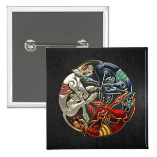 500 Celtic Sacred Art - Three Dogs Pinback Button