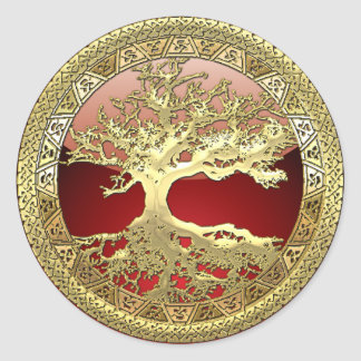 [500] Celtic Tree of Life [Gold] Classic Round Sticker