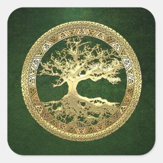 [500] Celtic Tree of Life [Gold] Square Sticker