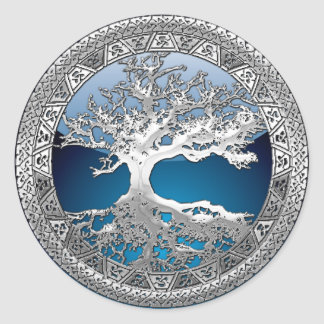 [500] Celtic Tree of Life [Silver] Classic Round Sticker