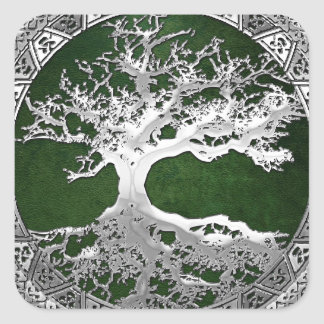 [500] Celtic Tree of Life [Silver] Square Sticker