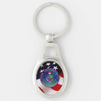 [500] Defense Intelligence Agency (DIA) Seal Silver-Colored Oval Metal Keychain