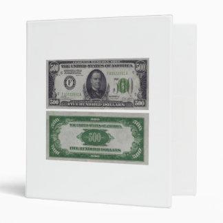 500 Dollar Federal Reserve Gold Certificate 3 Ring Binder