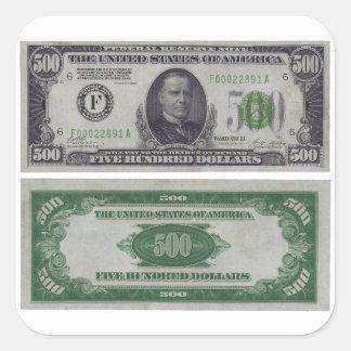 500 Dollar Federal Reserve Gold Certificate Square Sticker