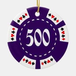500 Dollar Poker Chip Ceramic Ornament