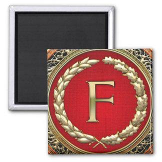 """[500] """"F"""" Gold Vintage Monogram 2 Inch Square Magnet"""