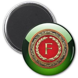 """[500] """"F"""" Gold Vintage Monogram 2 Inch Round Magnet"""