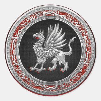 [500] Grifo de plata sagrado Pegatinas Redondas