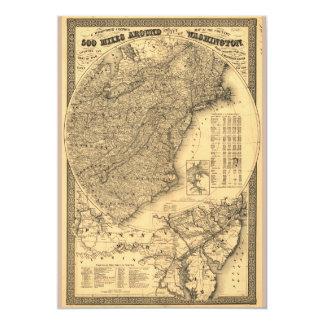 500 Miles Around Washington D.C. Map (1861) Card