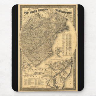 500 Miles Around Washington D.C. Map (1861) Mouse Pad