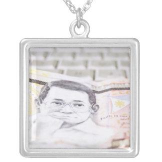 500 Peso Bill Silver Plated Necklace