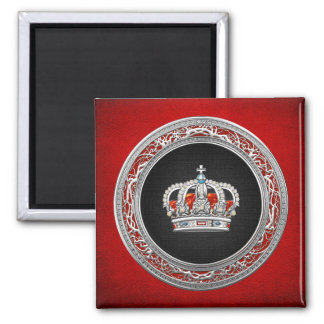 [500] Prince-Princess King-Queen Crown [Silver] 2 Inch Square Magnet