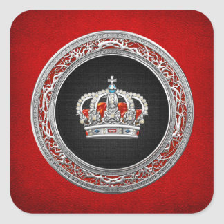 [500] Prince-Princess King-Queen Crown [Silver] Square Sticker