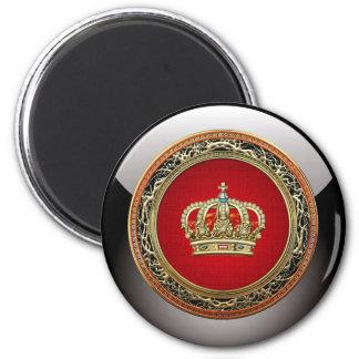 [500] Príncipe-Princesa Rey-Reina Crown Imán Redondo 5 Cm