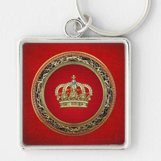 [500] Príncipe-Princesa Rey-Reina Crown Llavero Cuadrado Plateado