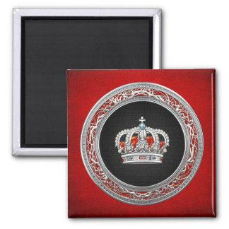 [500] Príncipe-Princesa Rey-Reina Crown [plata] Imán Cuadrado