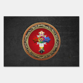 [500] Rosy Cross (Rose Croix) on Red & Gold Sign