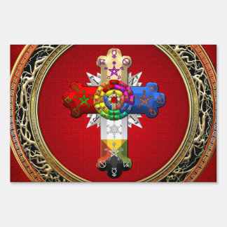 [500] Rosy Cross (Rose Croix) on Red & Gold Yard Sign