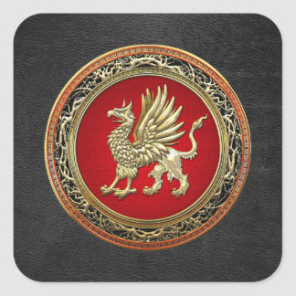 [500] Sacred Gold Griffin Square Stickers