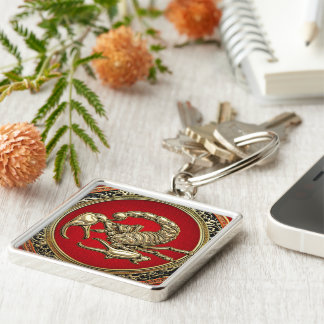 [500] Sacred Golden Scorpion on Red Keychain