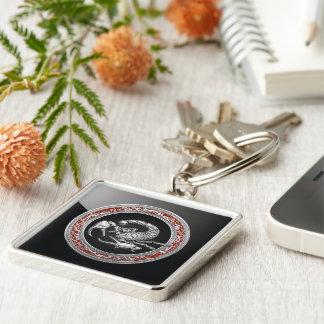 [500] Sacred Silver Scorpion on Black Keychain